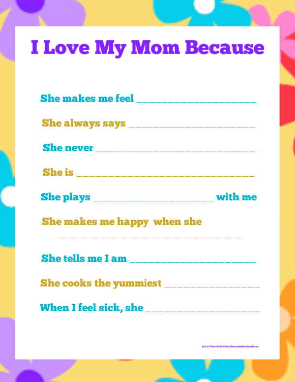 I Love My Mom Because Printable for kids