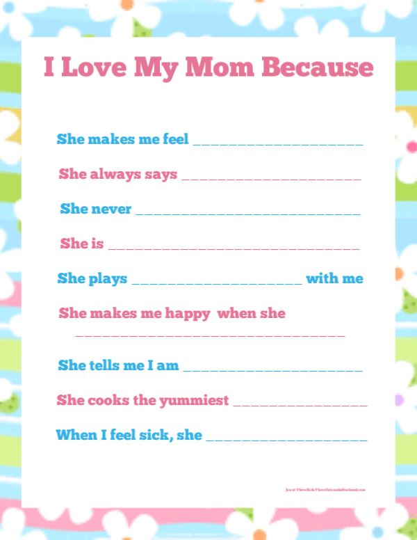 I Love My Mom Because free Printable