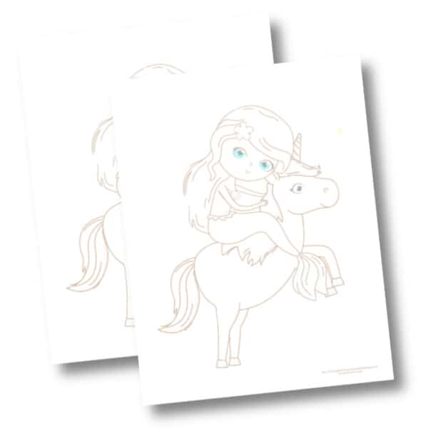 Mermaid and unicorn coloring page mockup