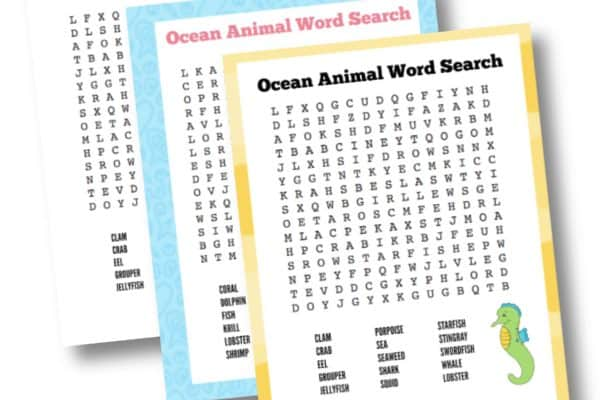 Free Printable Ocean Animals Word Searches