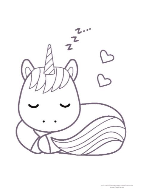 free printable sleeping unicorn coloring page