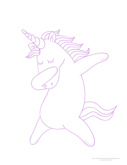 Unicorn dabbing coloring page