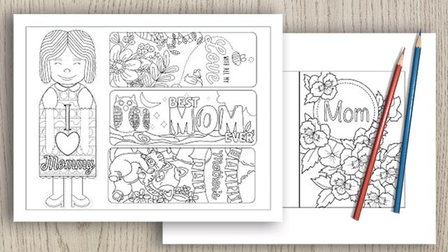 Mother's Day Coloring Cards, Bookmarks, and Coupons