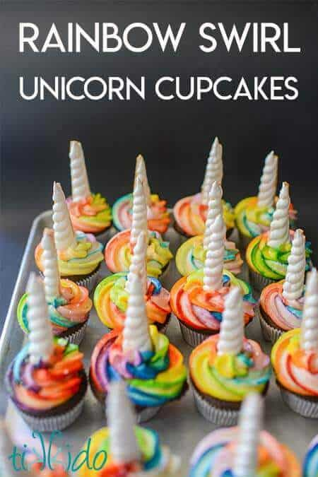 Rainbow Unicorn Cupcakes with Cookie Unicorn Horns