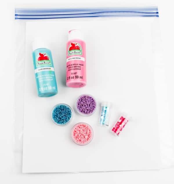 Sensory squish bag paint supplies