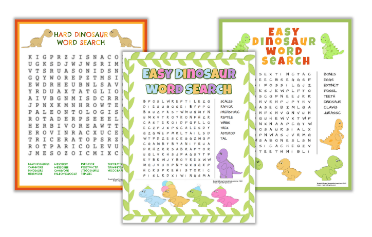 Free Printable Dinosaur Word Searches (Easy & Challenging)