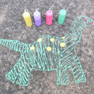 Completed dinosaur with puffy paint