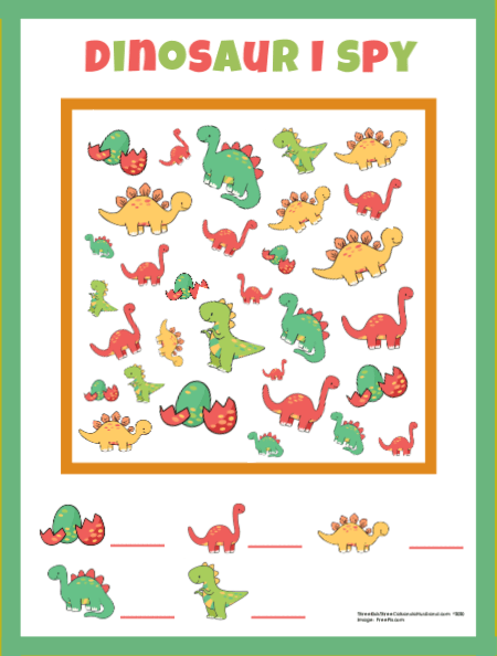 Dinosaur I Spy printable #2
