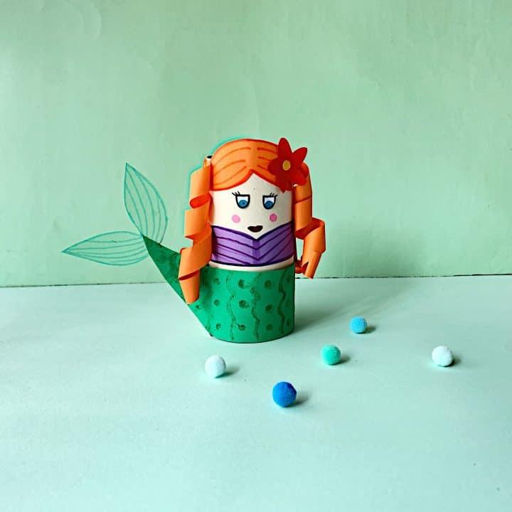 Mermaid toilet paper roll craft