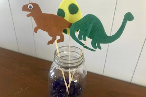 How to Make Stick Puppets (a Dinosaur Egg Craft)