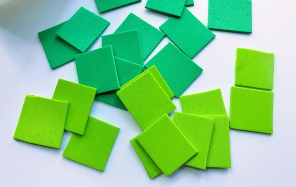 Green strips cut into squares