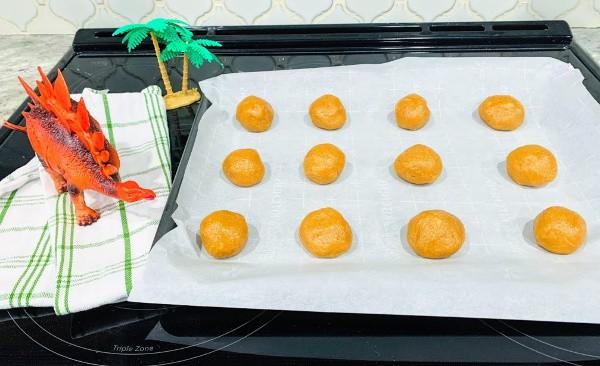 Horizontal balls on cookie sheet