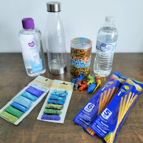 Materials for Glow in the Dark Dinosaur Sensory Bottle