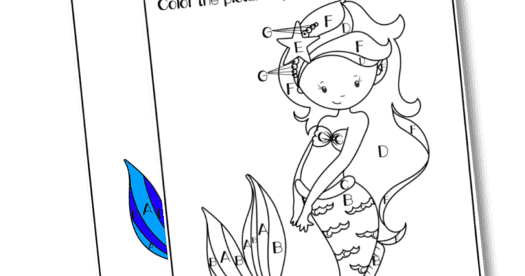 "Printable Mermaid ""Color by Letter"" (great for preschool & kindergarten)"