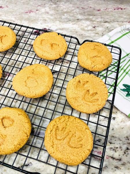Printed cookies on cooling rack