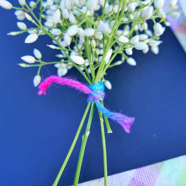 Tie yarn around plants