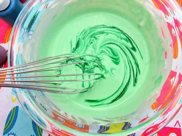 Whisking paint into flour mixture