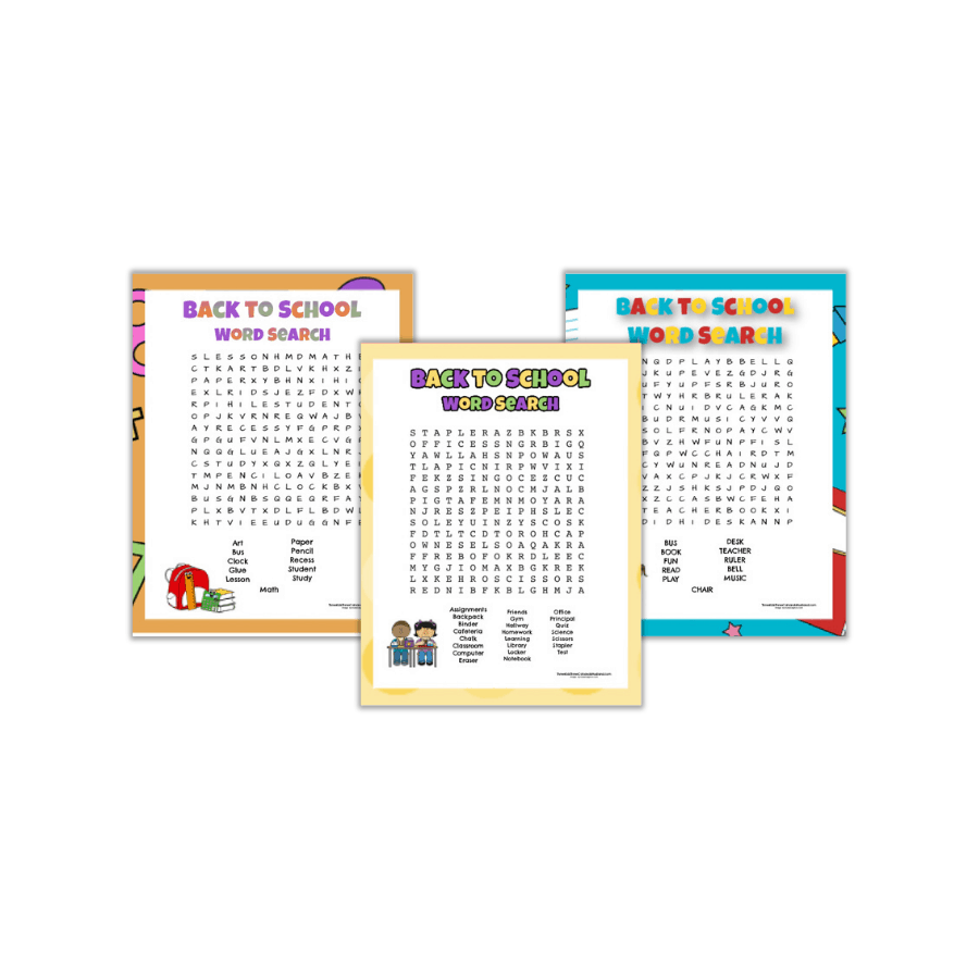 3 Free Printable Back to School Word Searches