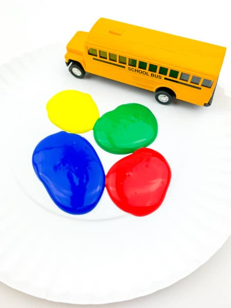 School bus and blobs of paint