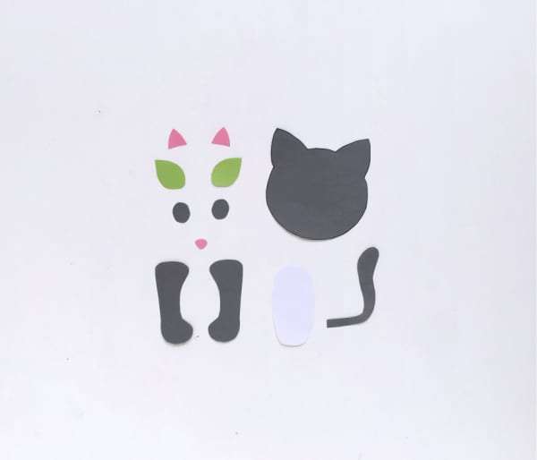 Colored cat template pieces cut out