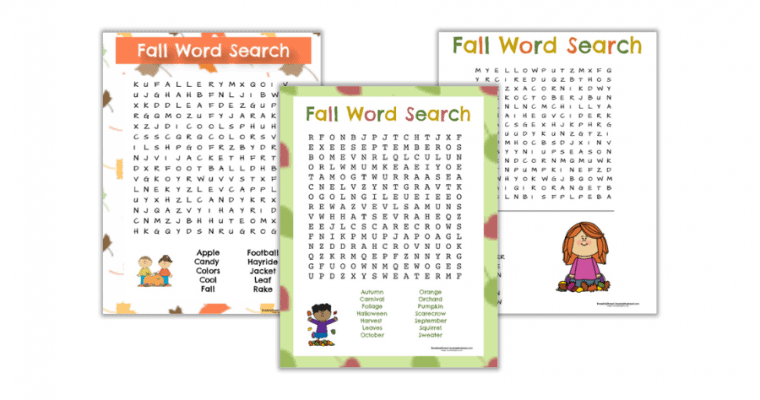 Free Printable Fall Word Searches (2 easy & 1 challenging)