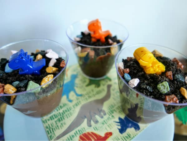 Finished dinosaur dirt pudding cups