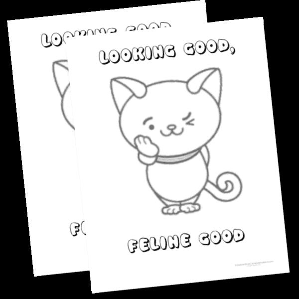 Lookin good feline fine cat coloring page