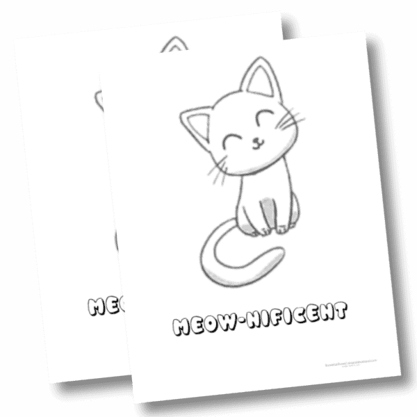 Meow nificient printable cat coloring page