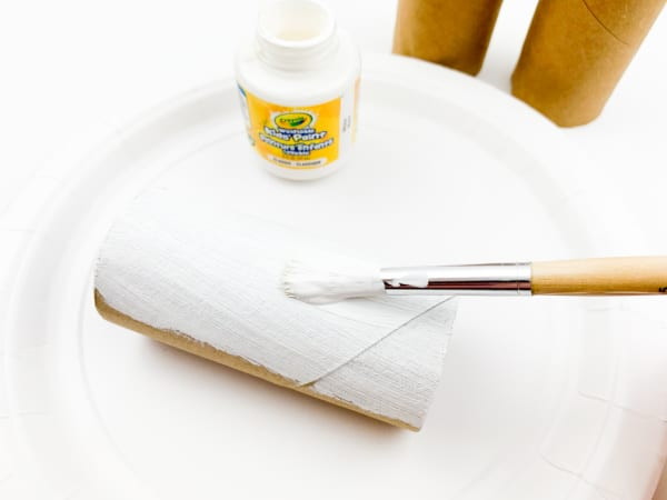Painting toilet paper roll white