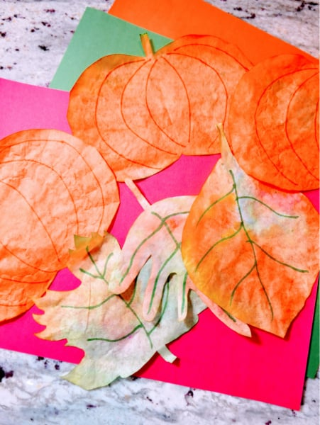 Pumpkins and leaves on construction paper 2