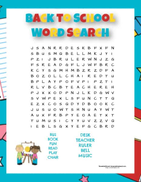 Easy Back to School Word Search One
