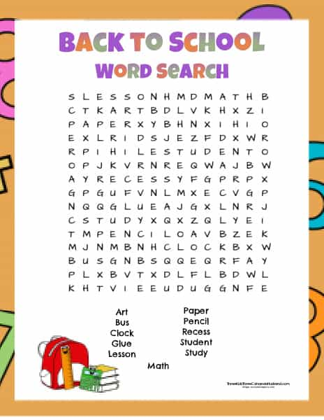 Printable Back to School Word Search Two