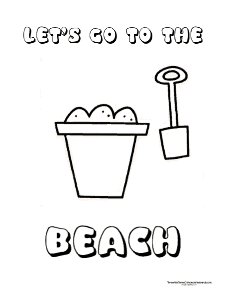 Beach shovel and pail coloring page for preschoolers