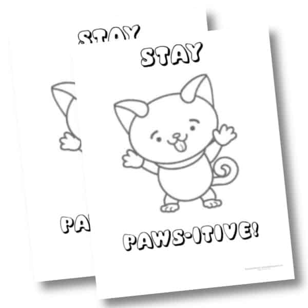 Stay Paws itive funny Cat coloring page