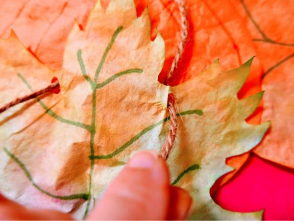 Yarn through leaf