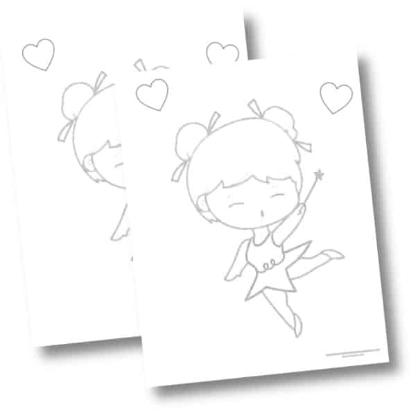 Free dancing fairy coloring page