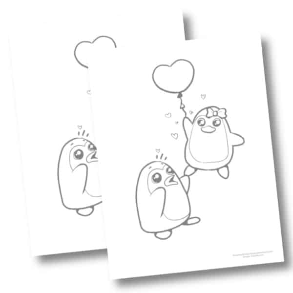 Penguin & Balloon coloring page