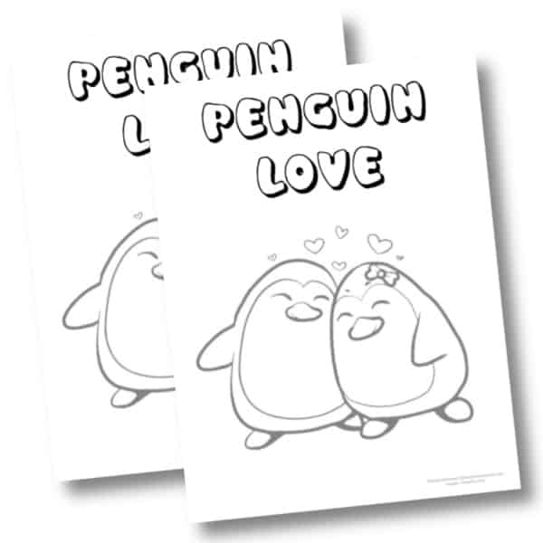 Penguin love coloring page