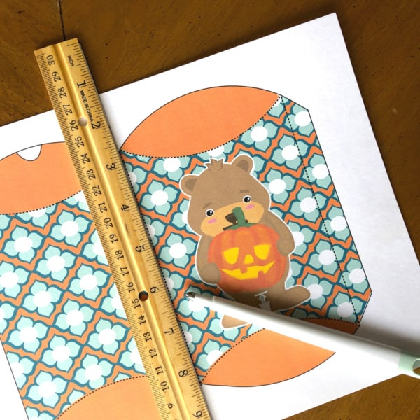 Halloween candy bag template and ruler