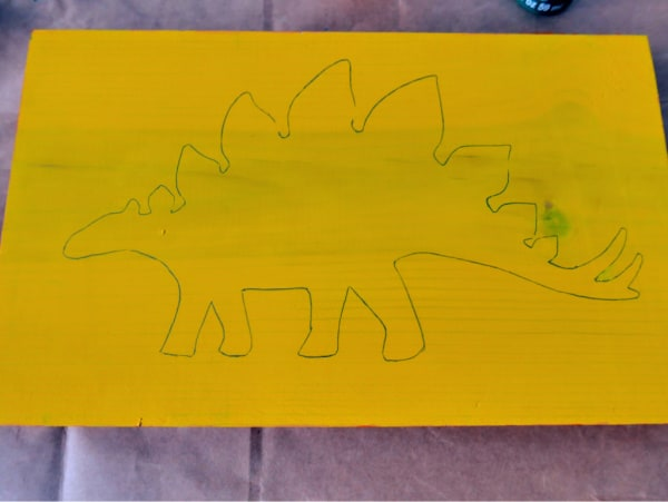 Dinosaur drawn in pencil