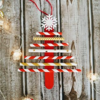 Paper Straw Christmas Tree Ornament