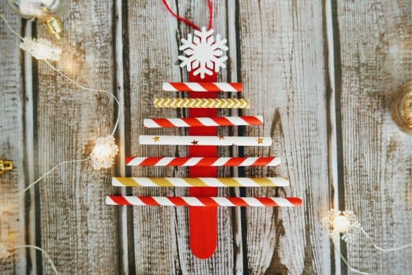 Paper Straw Christmas Tree Ornament Craft
