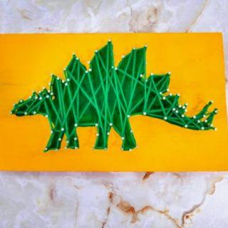 Dinosaur string art craft for kids