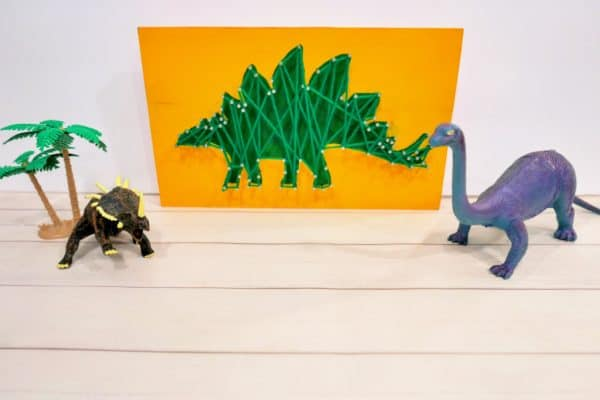 Dinosaur Nail & Wood Craft (Easy String Art for Kids)
