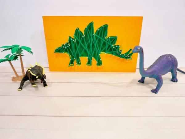 Dinosaur Nail & Wood Craft (Easy String Art for Kids)