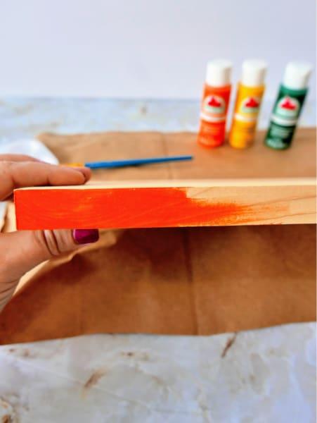 Painting wood edge orange