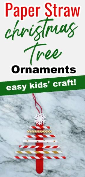 Paper Straw Christmas Tree Pin