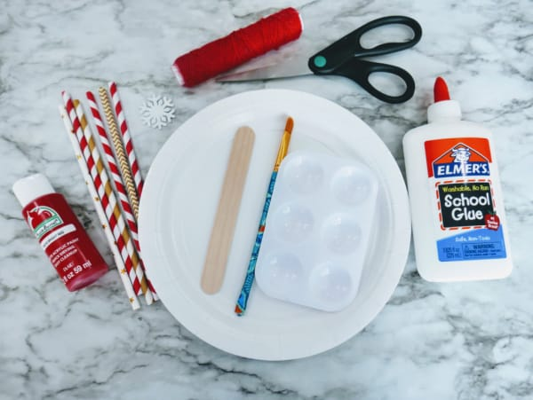 Supplies for Straw Christmas tree craft