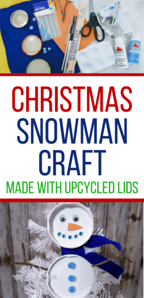 Snowman craft with upcycled lids