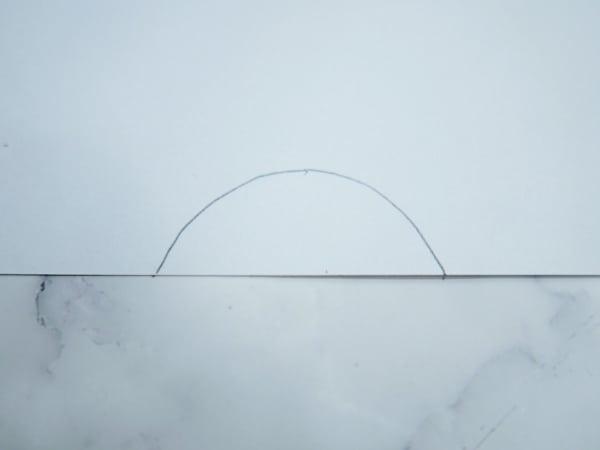 Drawn white semicircle
